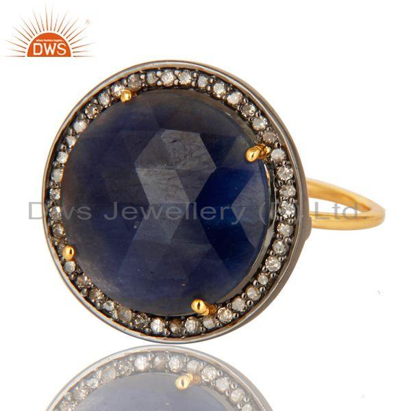 Exporter Prong Set Blue Sapphire Gemstone Pave Set Diamond 14K Yellow Gold Stackable Ring