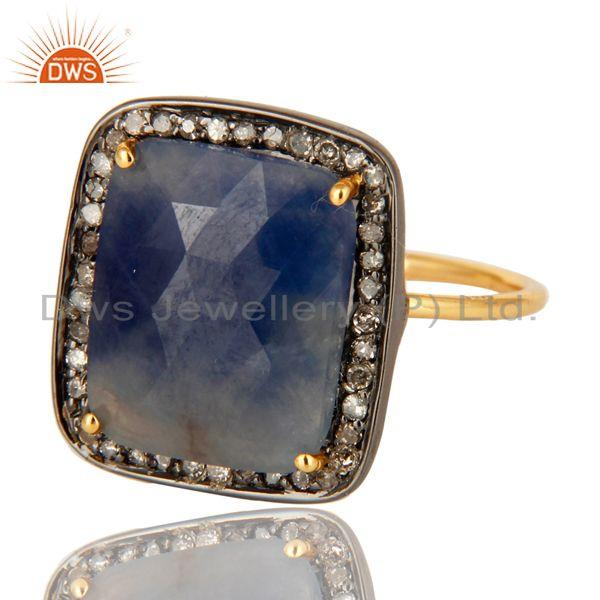 Exporter 14K Yellow Gold & Sterling Silver Blue Sapphire Pave Set Diamond Stackable Ring