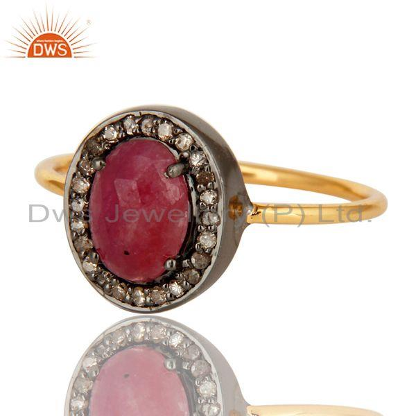 Exporter 14K Solid Yellow Gold Pave Diamond Natural Ruby Gemstone Engagement Ring