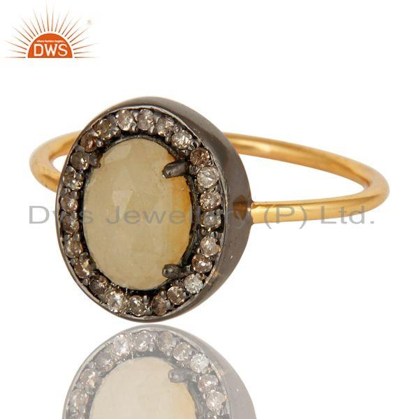 Exporter 14K Yellow Gold Natural Yellow Sapphire Gemstone Stack Ring With Pave Diamond