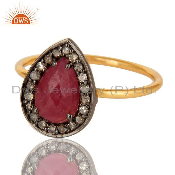 Exporter 14K Solid Yellow Gold Natural Ruby And Pave Diamond Stacking Ring