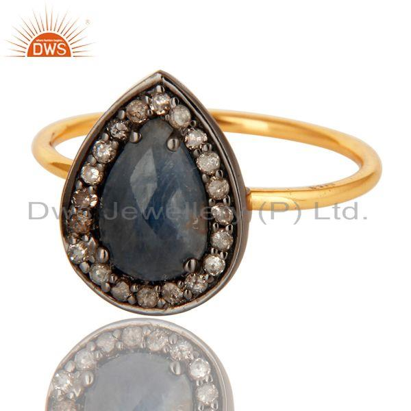 Exporter 14K Solid Yellow Gold Blue Sapphire Pave Diamond Engagement Stacking Ring