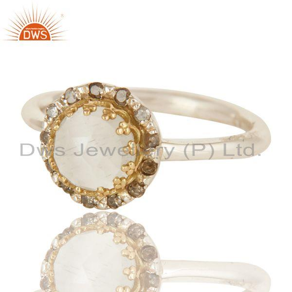 Exporter 18K Yellow Gold And Sterling Silver Natural Diamond & Moonstone Stack Ring