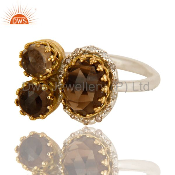 Exporter Handmade Smoky Quartz 18K Solid Yellow Gold And Sterling Silver Stacking Ring