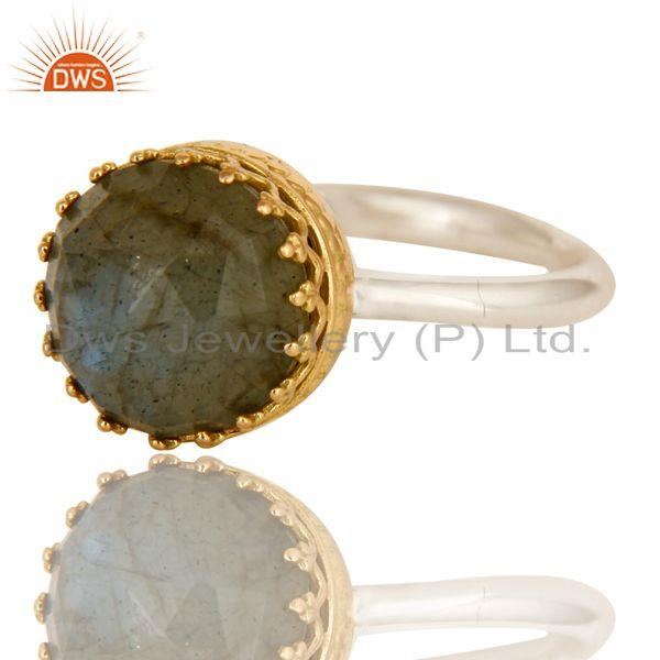 Exporter Solid Yellow Gold Sterling Silver Natural Labradorite Ring Engagement Jewelry