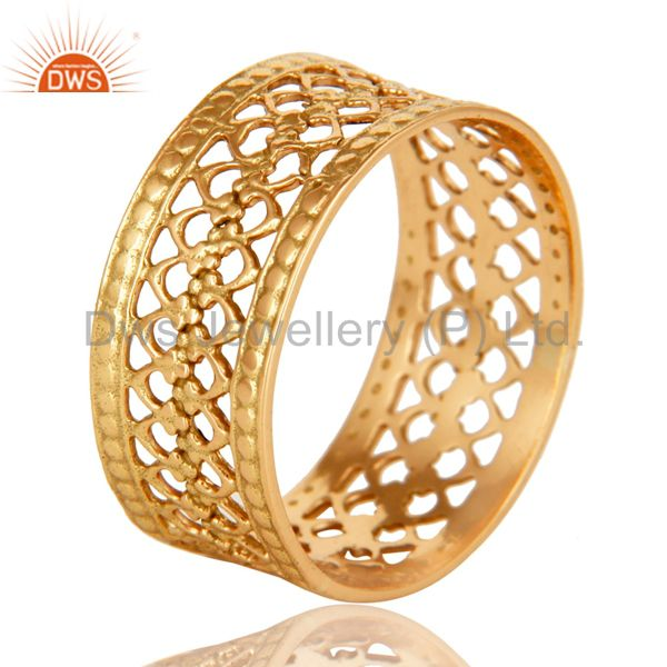 Exporter 18K Solid Yellow Gold Handmade Filigree Wide Band Wedding Ring