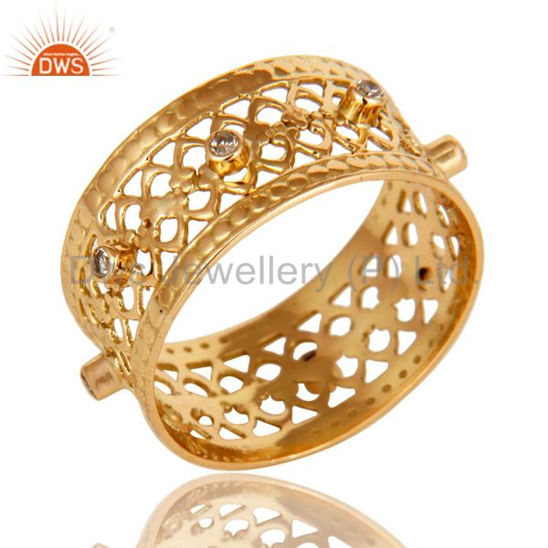 Exporter 18K Solid Yellow Gold Natural Diamond Handmade Filigree Wide Band Wedding Ring
