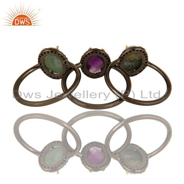 Exporter 14K Solid Yellow Gold Larimar, Amethyst And Pave Set Diamond Stacking Ring 3 Pcs