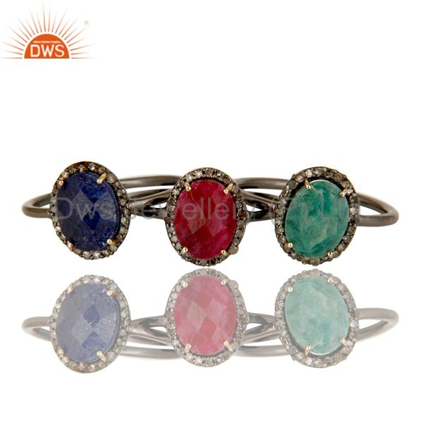Exporter 14K Gold Blue Sapphire, Emerald And Ruby Pave Diamond Stacking Ring 3 Pcs Set