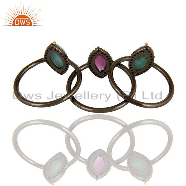 Exporter 14K Solid Yellow Gold Larimar, Amethyst And Pave Diamond Stacking Ring 3 Pcs Set