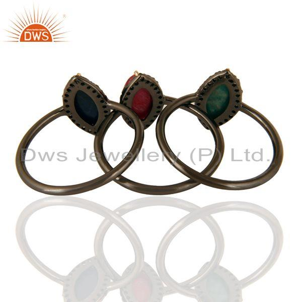 Exporter 14K Yellow Gold Emerald, Blue Sapphire And Ruby Stacking Ring With Pave Diamond
