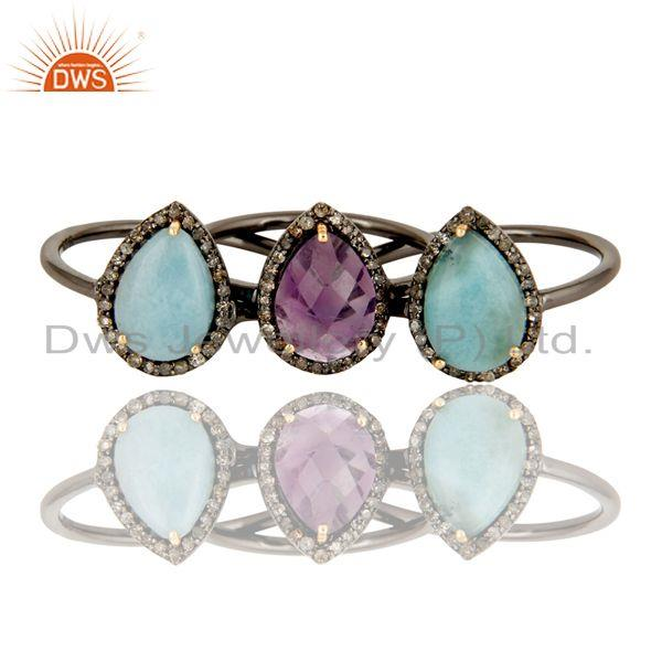 Exporter Larimar and Amethyst Three Ring Set Made with Diamond and Sterling Silver