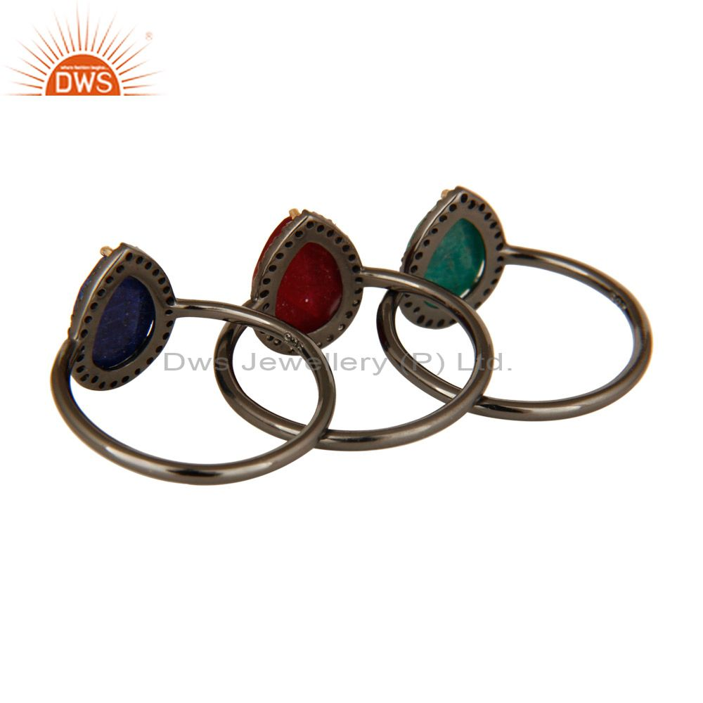 Exporter 14K Gold Pave Diamond Ruby, Emerald And Blue Sapphire Stack 3 Pieces Ring Set