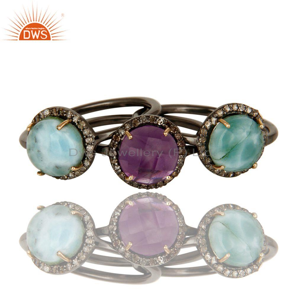 Exporter 14K Yellow Gold Pave Diamond Amethyst And Larimar Stacking 3 Pieces Ring Set