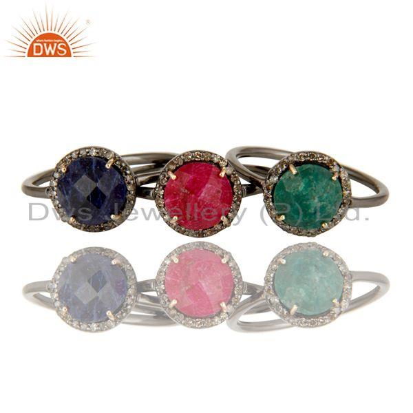 Exporter Ruby, Emerald And Blue Sapphire Pave Set Diamond Stack Ring Made In 14K Gold