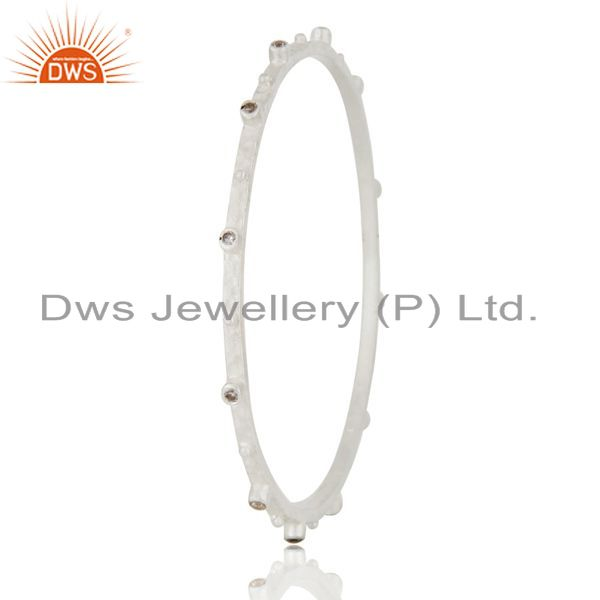 Supplier of Handmade 925 sterling silver cubic zirconia sleek bangle jewelry