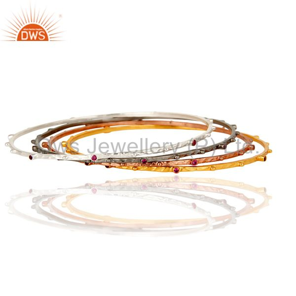 Supplier of 14k yellow gold brass ruby red cubic zirconia bangles set 4 pieces