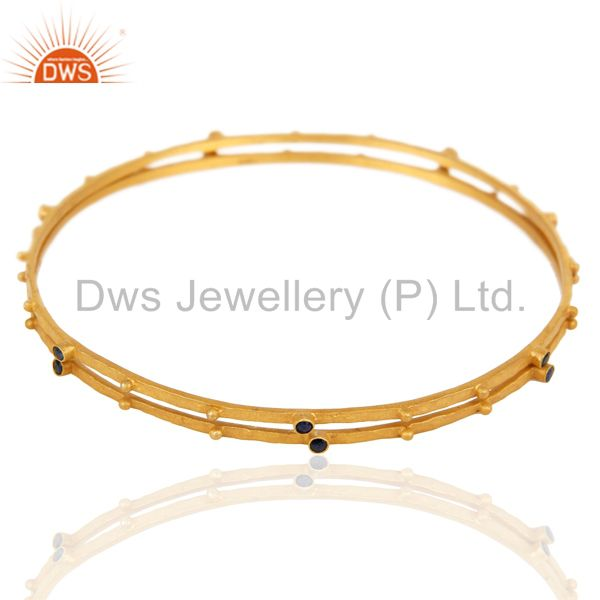 Supplier of 18k gold plated blue sapphire gemstone 925 sterling silver bangle