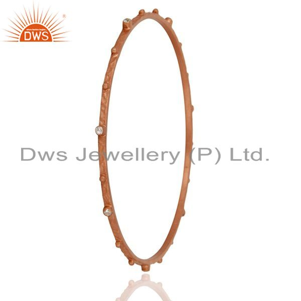 Supplier of Simulated diamond sterling silver rose gold plated handmade bangle