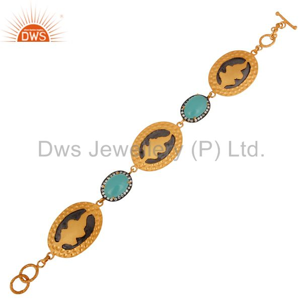 Exporter 18K Yellow Gold Plated Sterling Silver Aqua Chalcedony Glass Bracelet With CZ