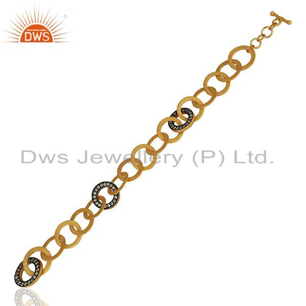 Exporter 18K Yellow Gold Plated Brass Link Chain Bracelet With White Zircon