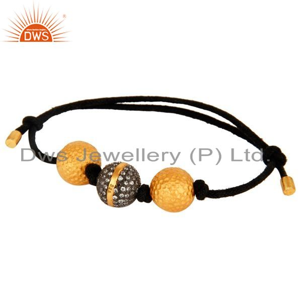 Exporter Gold Plated Sterling Silver Cubic Zirconia Beads Black Macrame Cord Bracelet