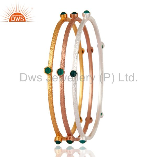Supplier of 24k gold plated emerald green onyx sleek fashion bangle 3 pcs set