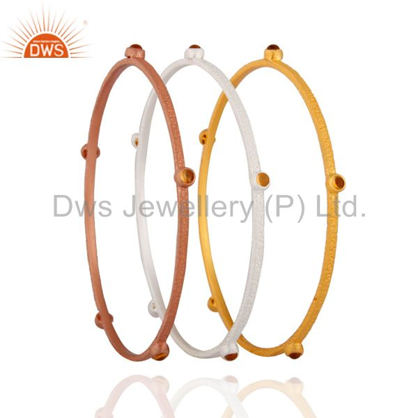 Supplier of Rose gold on citrine gemstone 925 silver matte finish bangle 3 pcs