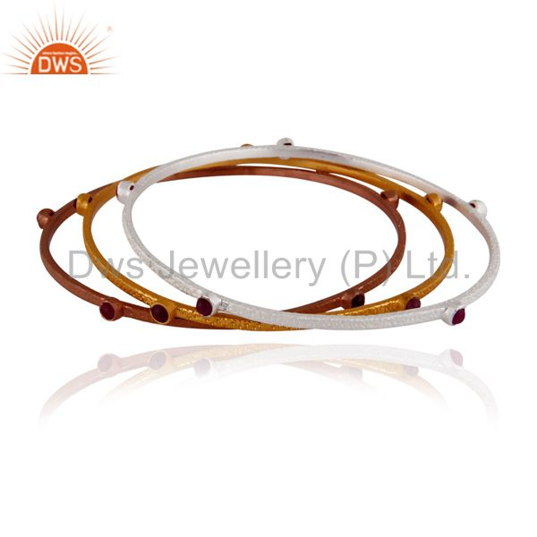 Supplier of Set of 3 pieces 925 silver ruby 18k gold plated stackable bangle