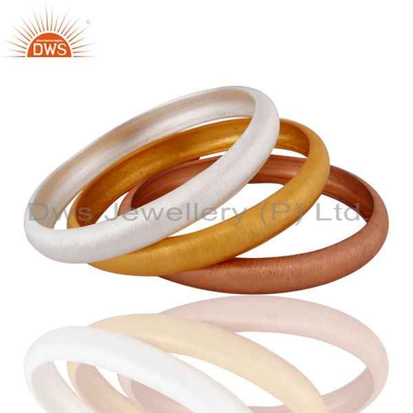 Supplier of 925 sterling silver three bangle set jewelry manufacturer supplier