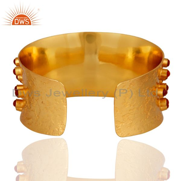 Exporter 24K Yellow Gold Plated Brass Red Coral Fashion Cuff Bracelet Wide Bangle Jewelry