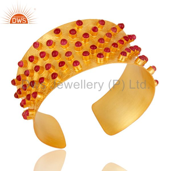 Exporter 24K Gold Plated Brass Natural Aventurine Fashion Cuff Bracelet Bangle Jewelry
