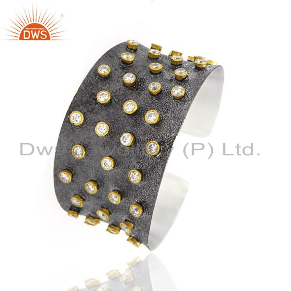 Exporter Oxidized And 22K Gold Plated Brass Cubic Zirconia Designer Cuff Bracelet