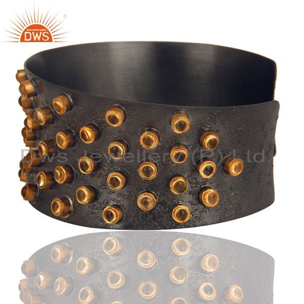Exporter Black Oxidized 925 Sterling Silver Handmade Textured Citrine Cab Cuff Bangle