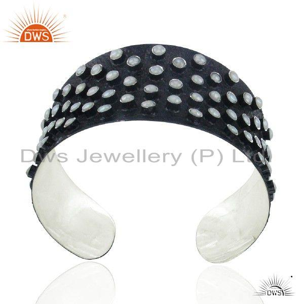 Exporter Handmade Oxidized Sterling Silver Natural Pearl Wide Cuff Bracelet Jewelry
