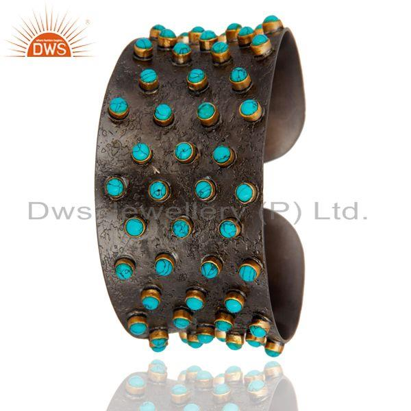 Exporter Oxidized Sterling Silver Turquoise Gemstone Wide Cuff Bracelet Bangle