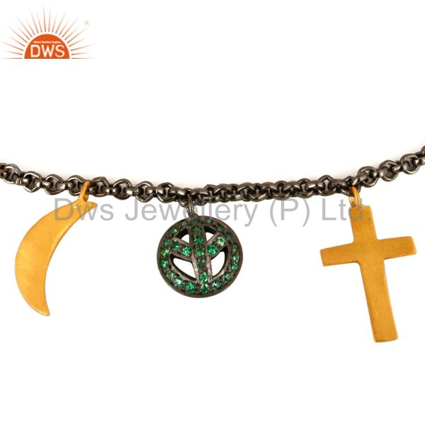 Exporter 18K Gold And Black Rhodium Plated Emerald Green CZ Charms Ladies Chain Bracelet