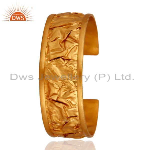 Exporter Gold Plated 925 Sterling Silver Hammered Fashion Wedding Bangle Cuff Bracelet