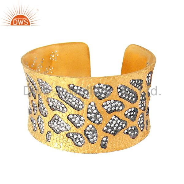 Exporter 22K Yellow Gold Plated Sterling Silver Cubic Zirconia Designer Cuff Bracelet