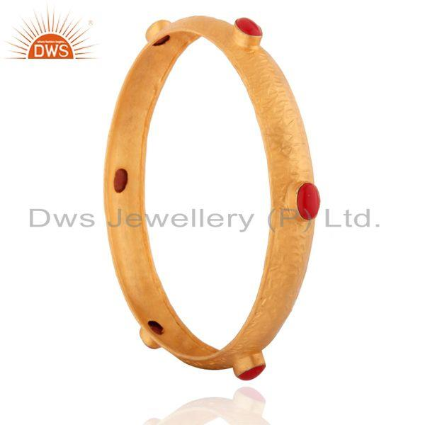 Supplier of 925 silver red coral natural gemstone 24k gold on stackable bangle