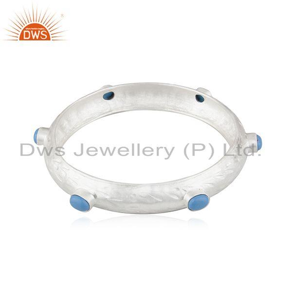Supplier of Handmade 925 fine silver turquoise gemstone bangle manufacturer