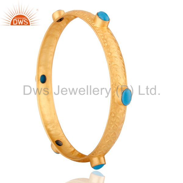 Supplier of 18k yellow gold plated sterling silver turquoise gemstone bangle