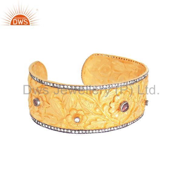 Exporter 24K Yellow Gold Plated Silver CZ & Tourmaline Floral Engraved Wide Cuff Bracelet