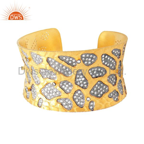 24K Yellow Gold Plated Sterling Silver Hammered CZ Wide Cuff Bracelet Bangle