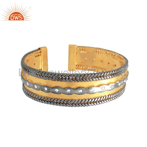22K Gold Plated And Oxidized Sterling Silver Hammered CZ Cuff Bracelet Bangle