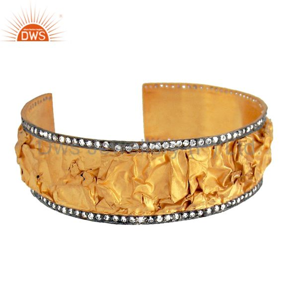 Exporter 22K Yellow Gold Plated Sterling Silver Cubic Zirconia Cuff Bracelet Wide Bangle