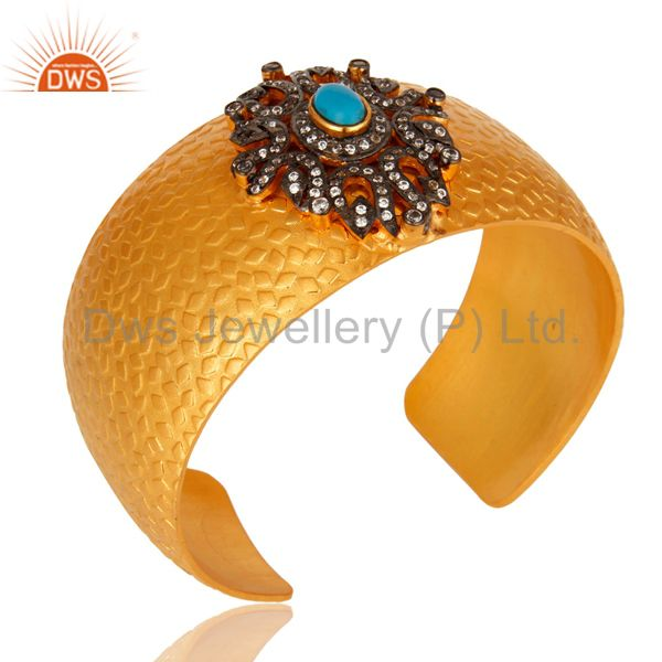 Exporter 24K Yellow Gold Plated Brass Textured Cuff Bracelet With Turquoise And CZ