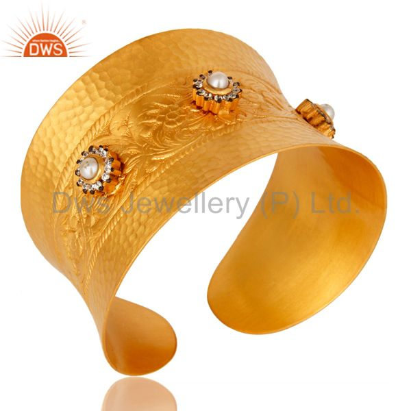 Exporter 18K Yellow Gold Plated Natural Pearl And CZ Wide Cuff Bracelet Bangle