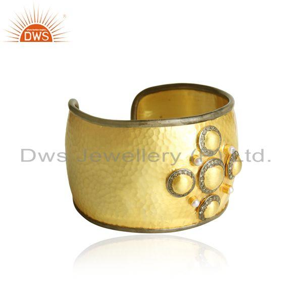 Yellow gold plated silver bold cuff with pearl and white topaz