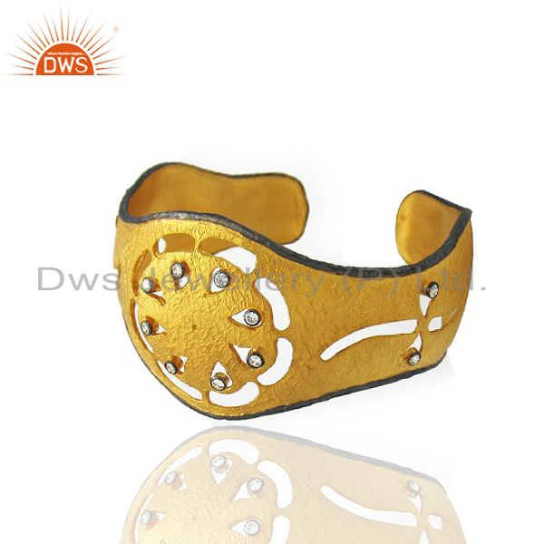 Exporter 24K Yellow Gold Plated Sterling Silver Cubic Zirconia Designer Cuff Bracelet